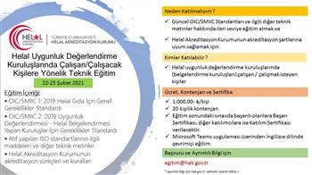 Belgelendirme Kuruluşlarında Çalışan/Çalışacak Kişilere Yönelik Eğitim (22-25 Şubat 2021)